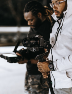 two african-american-video-content-creators-on-set-filming